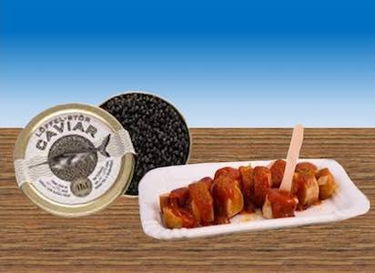 Kaviar dröppt Currywurst